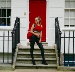 red door front view